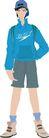流行时男0014,流行时男,标题插画,学生 旅行 书包 帽子 T恤