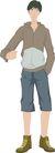 流行时男0016,流行时男,标题插画,灰色调 空白 白色背景 手姿 休闲装