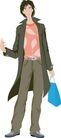 流行时男0017,流行时男,标题插画,比划 无奈表情 弯曲 蓝色提包 皮带