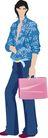 流行时男0023,流行时男,标题插画,衬衫 公文包 上班