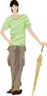 流行时男0024,流行时男,标题插画,短袖 雨伞 造型