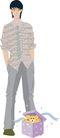流行时男0026,流行时男,标题插画,礼物 盒子 手叉裤袋