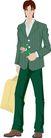 流行时男0030,流行时男,标题插画,服饰 鲜花 秋装