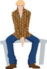 流行时男0036,流行时男,标题插画,坐着 木凳 戴着帽子