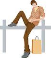 流行时男0038,流行时男,标题插画,姿势 青少年 购物袋