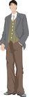 流行时男0039,流行时男,标题插画,手放口袋 裤袋 长裤