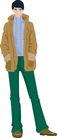 流行时男0043,流行时男,标题插画,绿色裤子