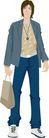 流行时男0048,流行时男,标题插画,提着包