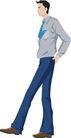 流行时男0049,流行时男,标题插画,蓝色裤子