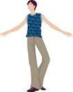 流行时男0051,流行时男,标题插画,时尚男女 高个子 张开手臂