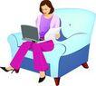 上班一族0198,上班一族,标题插画,高跟 对比 单沙发
