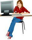 上班一族0199,上班一族,标题插画,红色衬衣 敲击 显示器