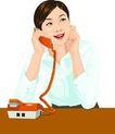 上班一族0203,上班一族,标题插画,橘色电话机