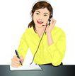 上班一族0207,上班一族,标题插画,话务员 接线员 笔录