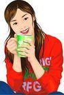 上班一族0208,上班一族,标题插画,水杯 女青年 喝水