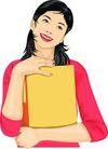 上班一族0209,上班一族,标题插画,拥抱 书本 陶醉