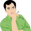 上班一族0217,上班一族,标题插画,绿色衣饰