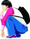 上班一族0225,上班一族,标题插画,中学生 蹲着 书包