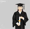 上班一族0231,上班一族,标题插画,博士帽 毕业了