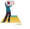 上班族0041,上班族,标题插画,手里的篮球