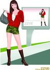 上班族0042,上班族,标题插画,绿色短裤