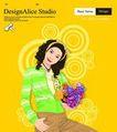 上班族0051,上班族,标题插画,青春装扮 发箍 手抱鲜花