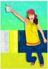 上班族0091,上班族,标题插画,女生 胶水 标题