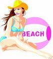 女性百态0171,女性百态,标题插画,沙滩美女 比基尼 太阳帽