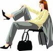 女性百态0172,女性百态,标题插画,白领百态 灰色套装 黑提包