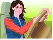 女性百态0174,女性百态,标题插画,女士机 墨镜 大大方向盘