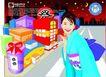 女性百态0177,女性百态,标题插画,日本街道 和服女郎 卡通街道