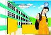 女性百态0179,女性百态,标题插画,学生妹 黄色校服 麻花辫