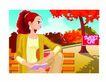 女性百态0182,女性百态,标题插画,红枫 秋景 坐长椅上