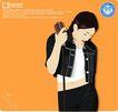 女性百态0201,女性百态,标题插画,露脐装 牛仔衣 头梳