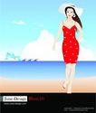 女性百态0225,女性百态,标题插画,海边美女