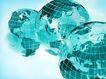 全球视野0101,全球视野,未来科技,三个地球 淡蓝色 有经纬线