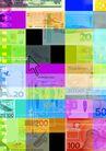 网路商机0019,网路商机,未来科技,面值大小 各色货币 五颜六色 印刷 箭头