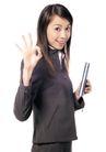 商务白领0179,商务白领,商业金融,女秘书 手拿笔记本 ok姿势