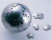 电子商务0026,电子商务,商业金融,金属 地球 合作 配合 球体 拼图 小拼块
