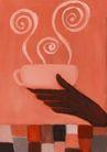 咖啡赏味0056,咖啡赏味,休闲生活,抽象画卷 端茶杯 香气缭绕
