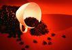 咖啡赏味0078,咖啡赏味,休闲生活,倾倒 黑色 咖啡粉