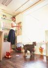 女性宠物0095,女性宠物,休闲生活,地板 宠物狗 女主人