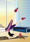 减肥瘦身0052,减肥瘦身,标题插画,卡通插画 跑步机 勤锻炼