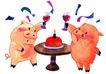 生日礼物0073,生日礼物,标题插画,红猪 举杯 相庆