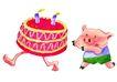 生日礼物0075,生日礼物,标题插画,追赶 飞跑 糕点