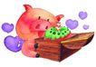 生日礼物0094,生日礼物,标题插画,小猪 漫画 礼物