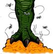 趣味插画0054,趣味插画,标题插画,趣味插图 大脚 苍蝇飞舞