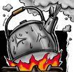 趣味插画0061,趣味插画,标题插画,茶壶 烧水 火焰