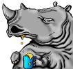 趣味插画0070,趣味插画,标题插画,犀牛 妖怪 口水