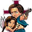 趣味插画0073,趣味插画,标题插画,英雄 救美 握枪
